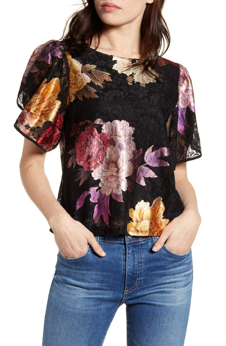 THE ODELLS Petal Sleeve Top, Main, color, 002