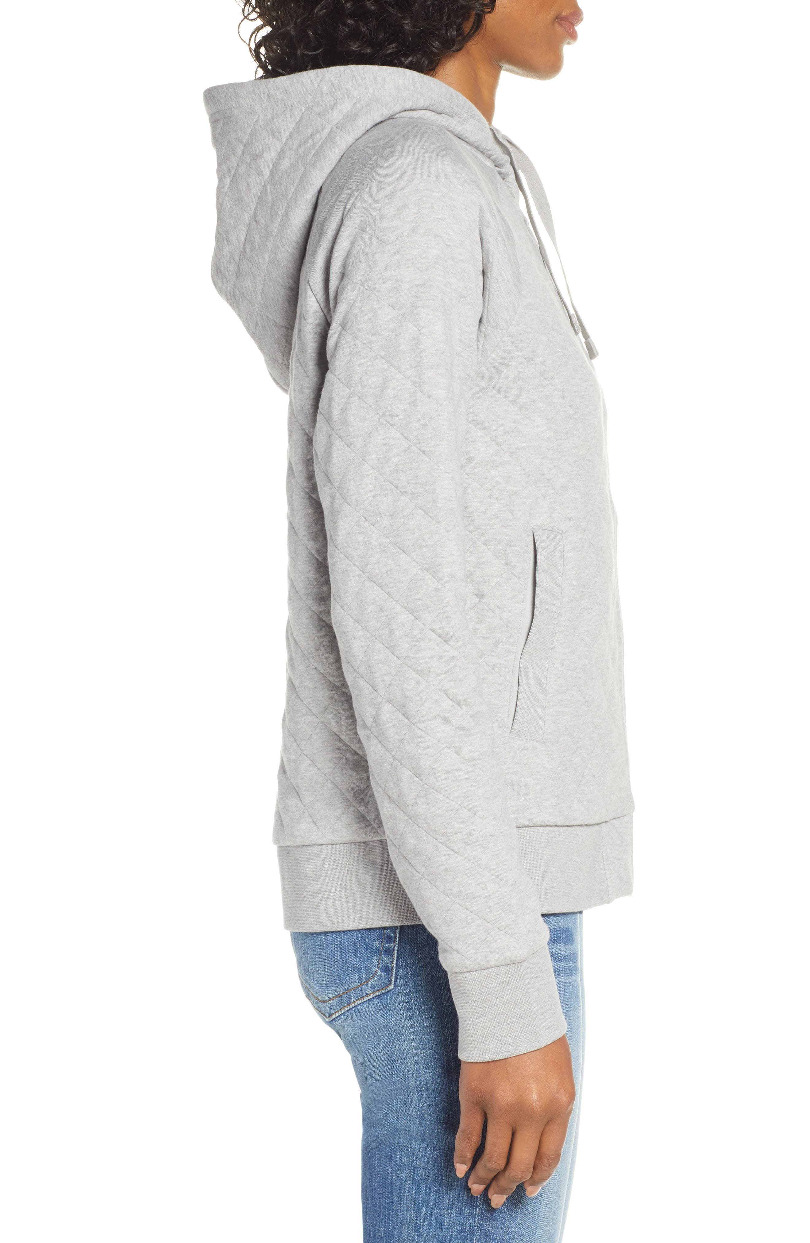 ,                             Organic Cotton Blend Quilted Hoodie,                             Alternate thumbnail 4, color,                             DFTG DRIFTER GREY