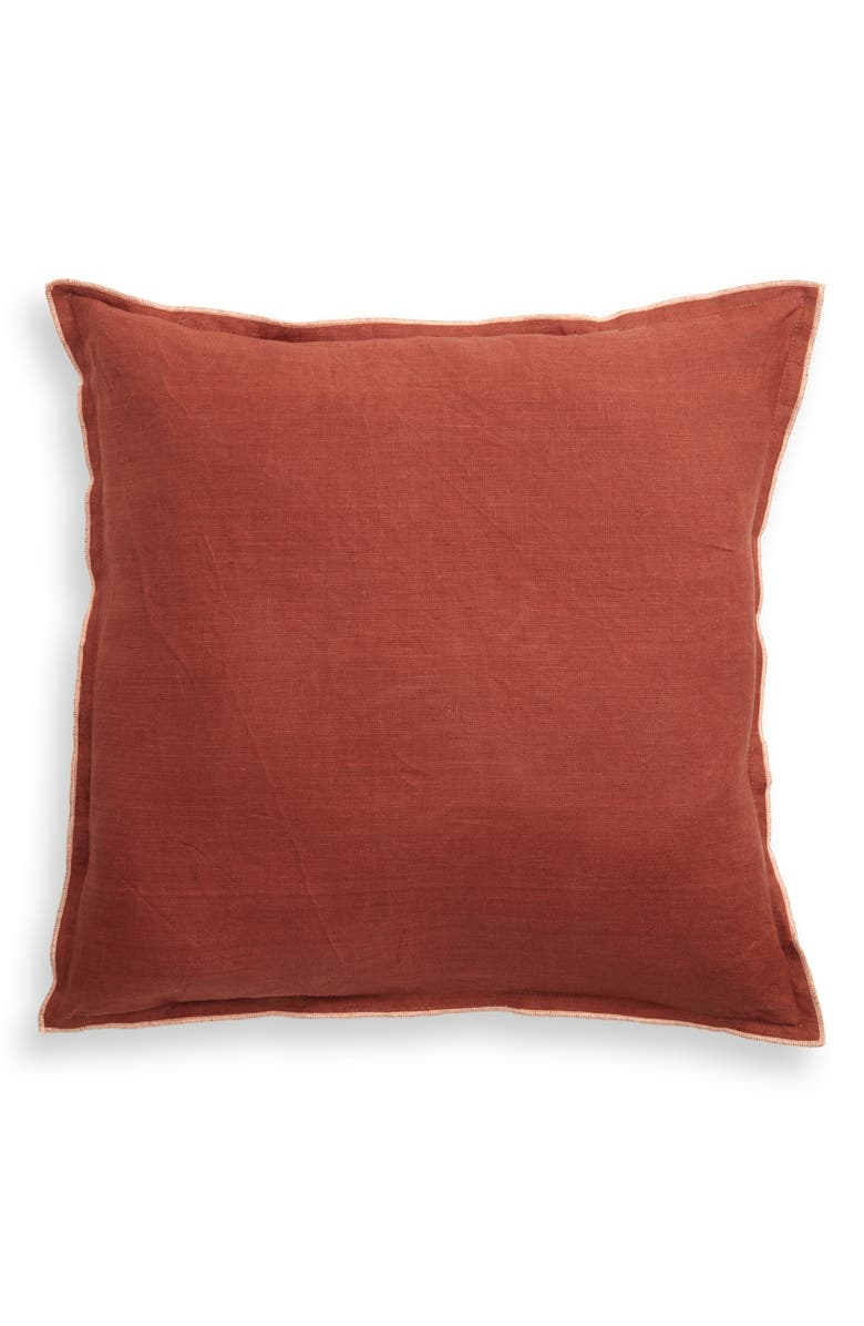 TREASURE & BOND Slub Linen & Cotton Outdoor Pillow, Main, color, BROWN RUSTIC