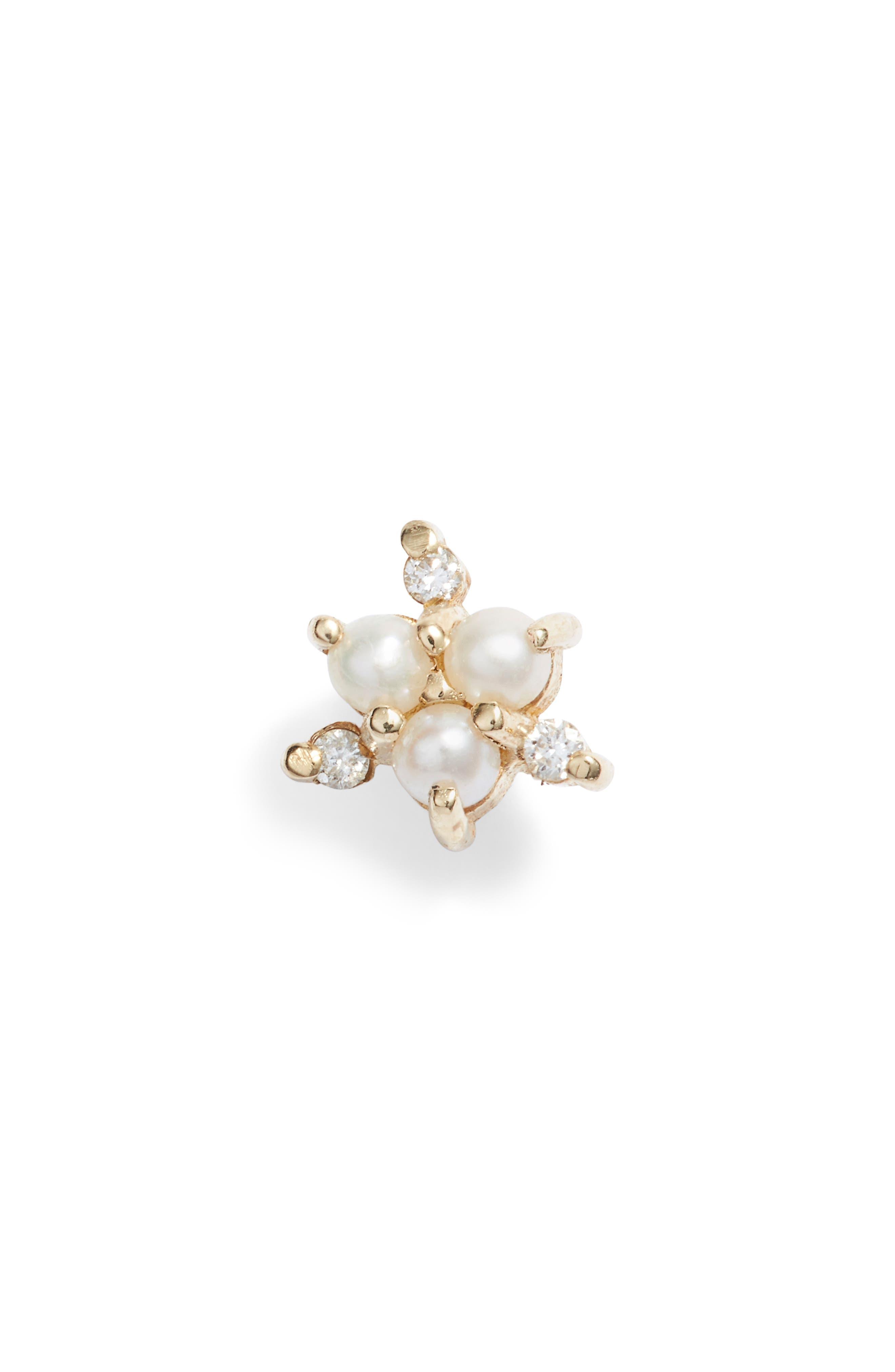 Pearl & Diamond Snowflake Single Stud Earring