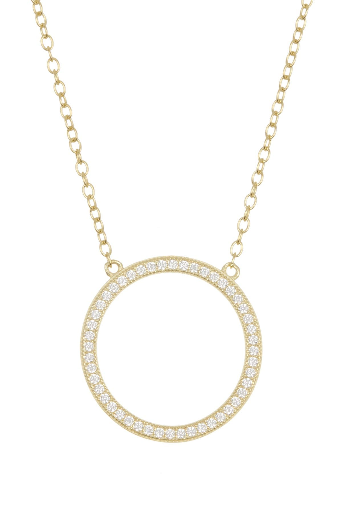 Image of ADORNIA Sterling Silver Pave Open Circle Pendant Necklace