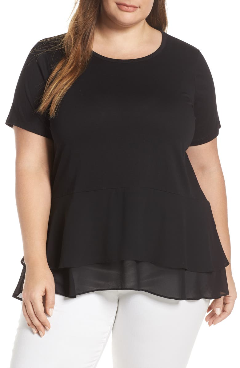 MICHAEL MICHAEL KORS Double Hem Top, Main, color, 001