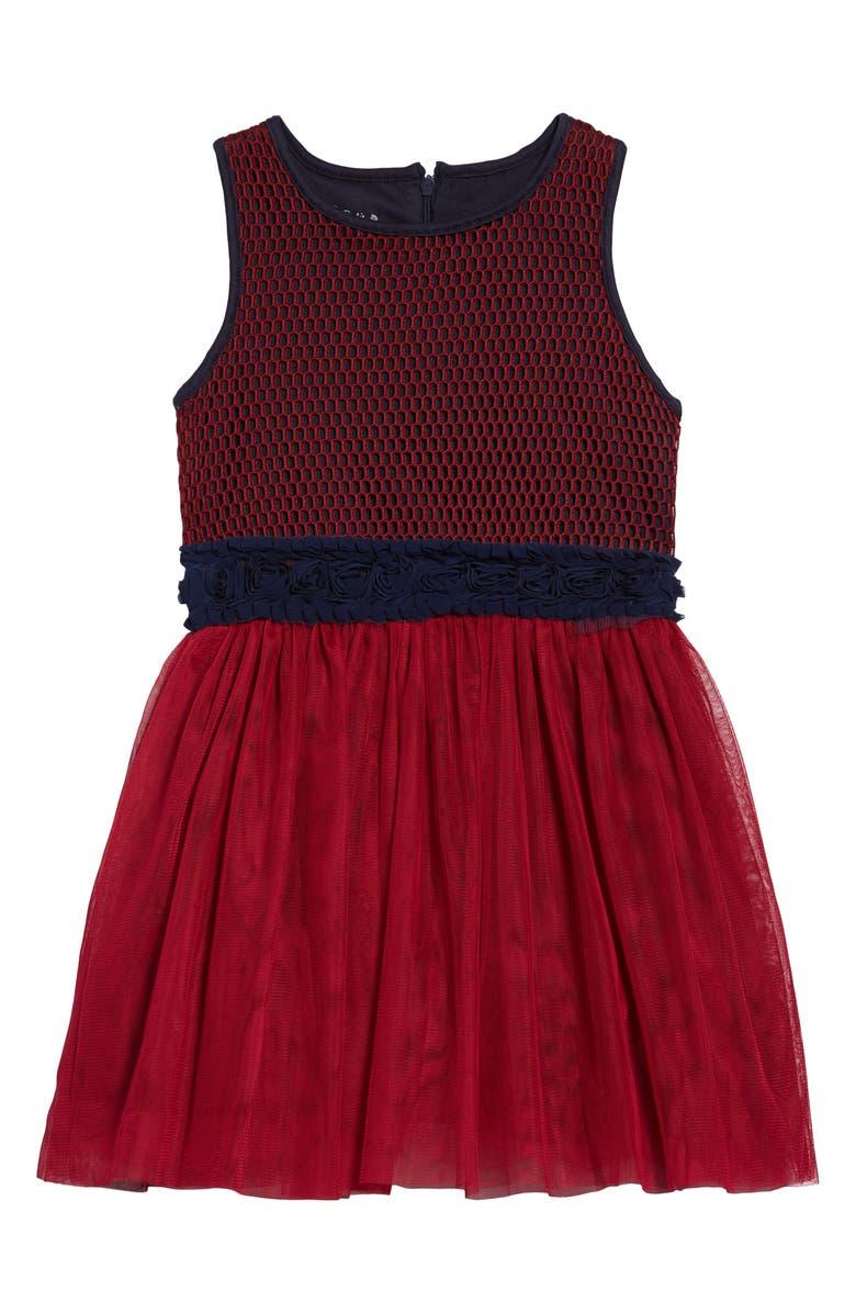 PIPPA & JULIE Technical Mesh Tutu Dress, Main, color, BURGUNDY