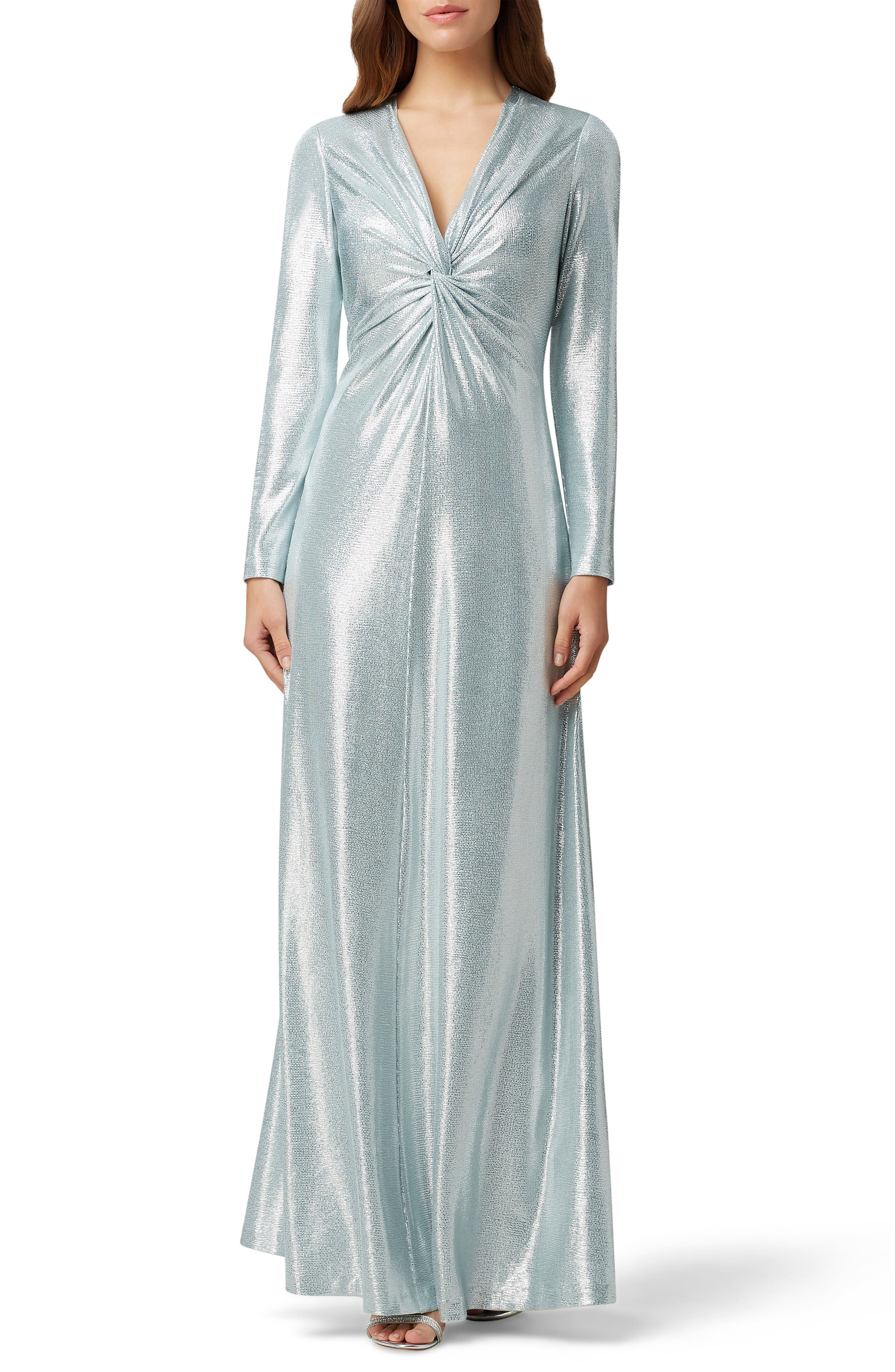 70s Prom, Formal, Evening, Party Dresses Womens Tahari Long Sleeve Twist Metallic Gown $138.10 AT vintagedancer.com