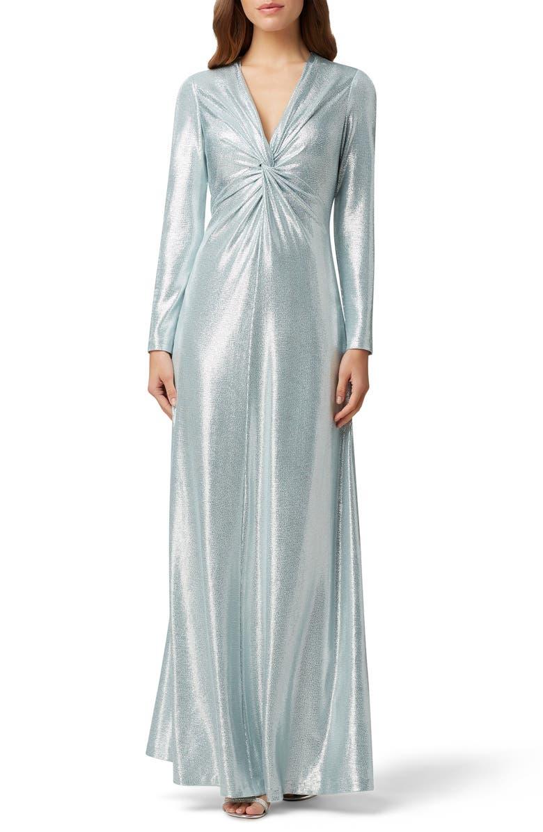 TAHARI Long Sleeve Twist Metallic Gown, Main, color, 156