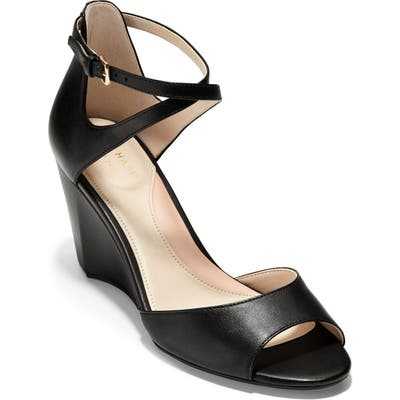 Cole Haan Sadie Open Toe Wedge Sandal B - Black
