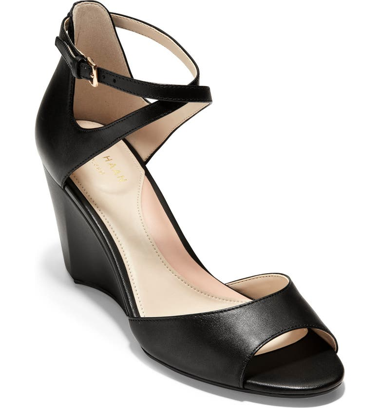 COLE HAAN Sadie Open Toe Wedge Sandal, Main, color, BLACK LEATHER