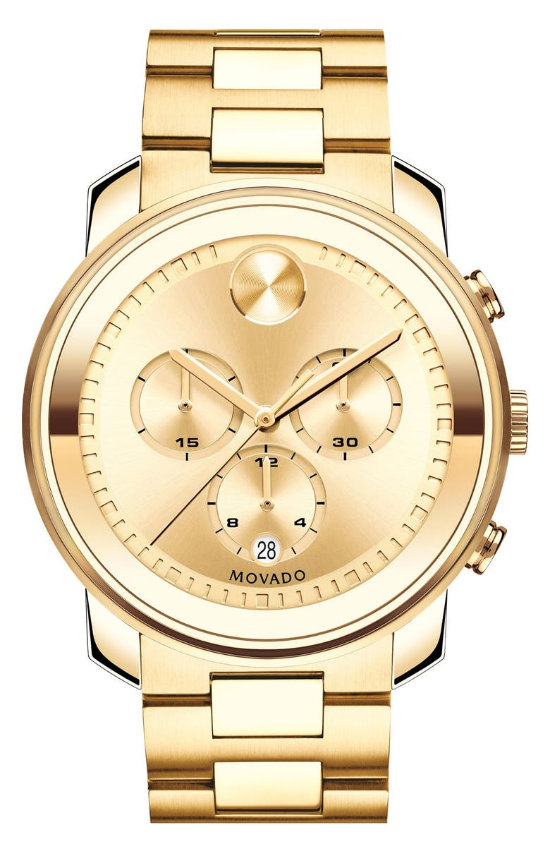 MOVADO Bold Chronograph Bracelet Watch, 44mm, Main, color, GOLD