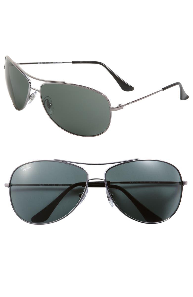 RAY-BAN 'Bubble Wrap' 63mm Aviator Sunglasses, Main, color, 031