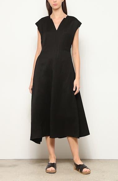 Georgia Belted Linen Blend Midi Dress, video thumbnail