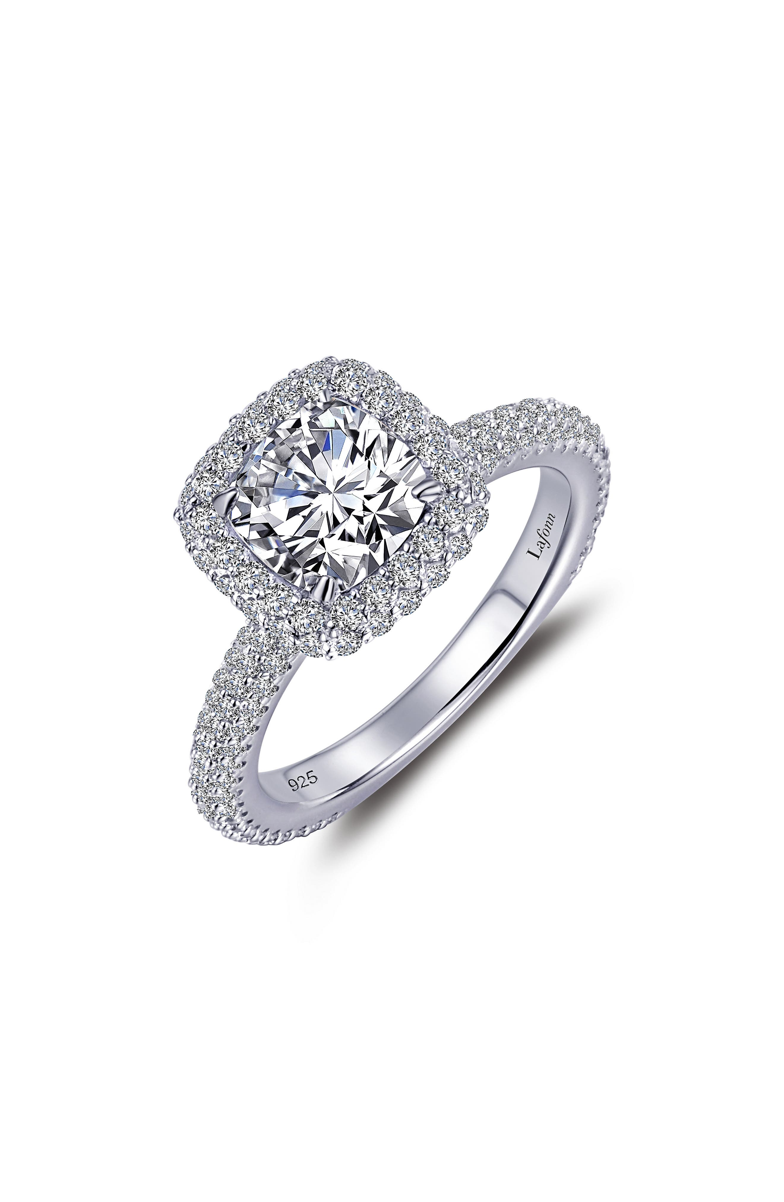 Simulated Diamond Halo Ring