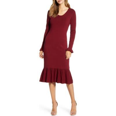 Rachel Parcell Ruffle Trim Sweater Dress, Burgundy