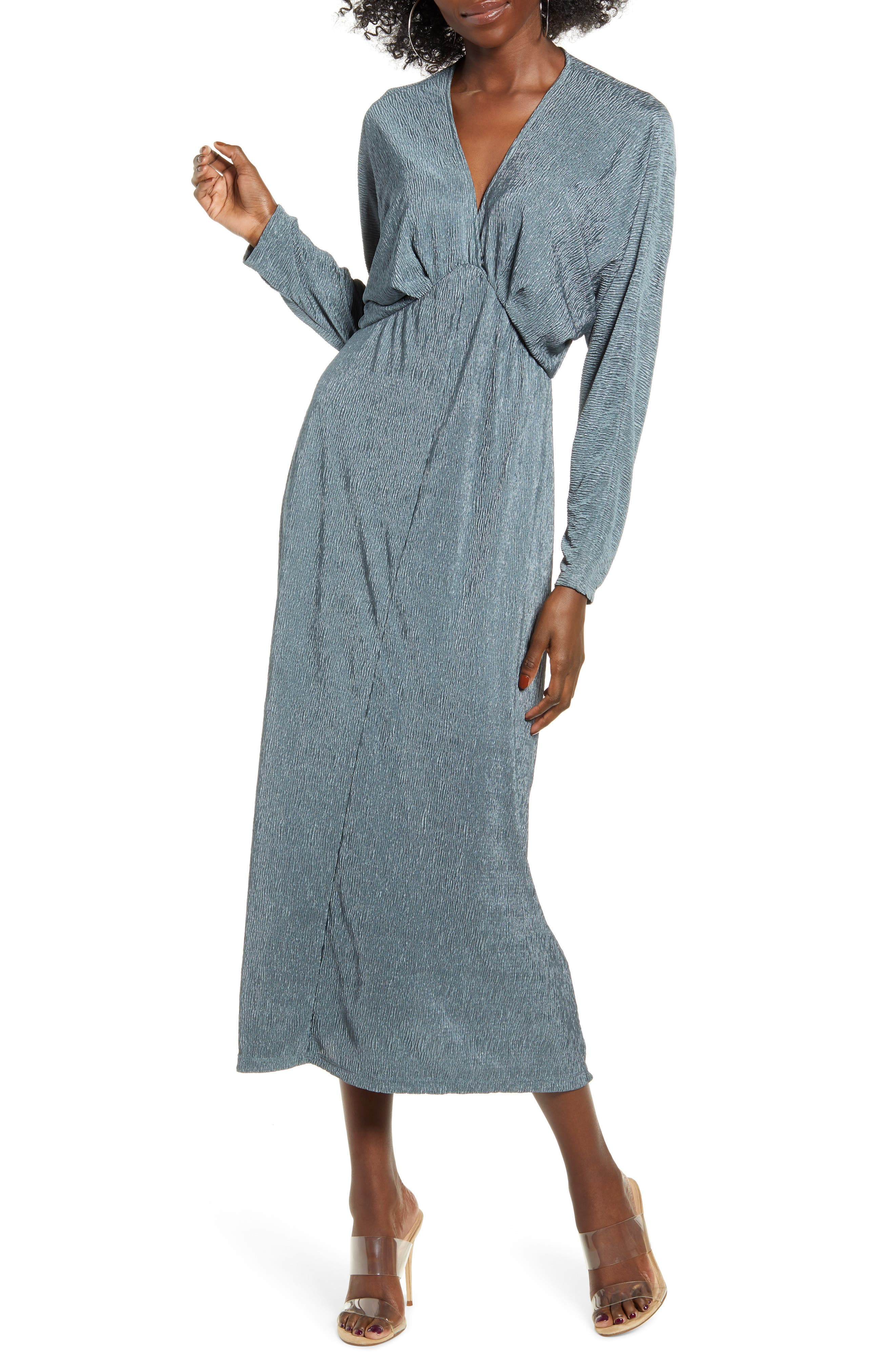 All in Favor Textured Long Sleeve Dress