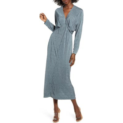 All In Favor Textured Long Sleeve Dress, Blue