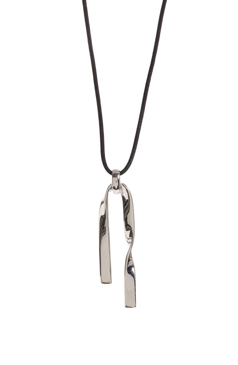 ST. JOHN COLLECTION Twist Metal Pendant Necklace, Main, color, RHODIUM