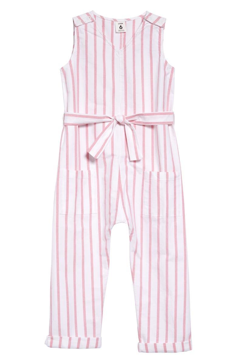 STEM Cool Stripe Jumpsuit, Main, color, WHITE- PINK STRIPE