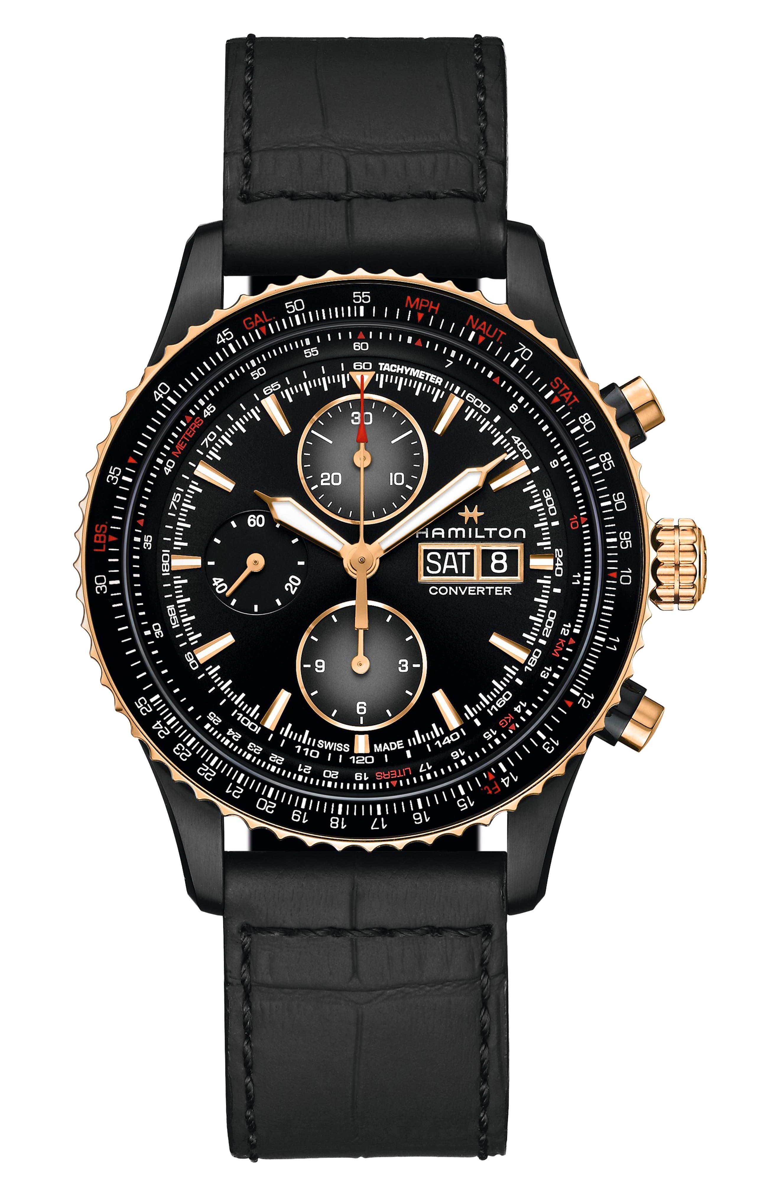 Khaki Aviation Converter Converter Chronograph Leather Strap Watch
