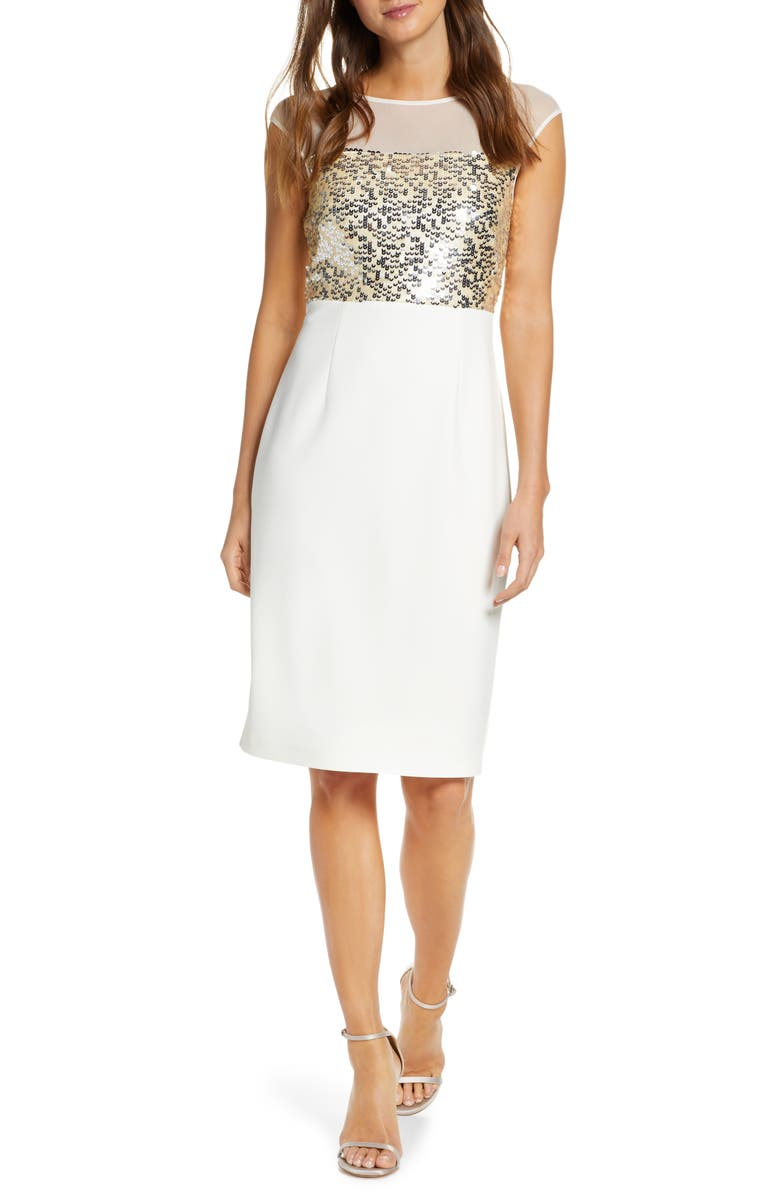 VINCE CAMUTO Sequin Body-Con Dress, Main, color, IVORY