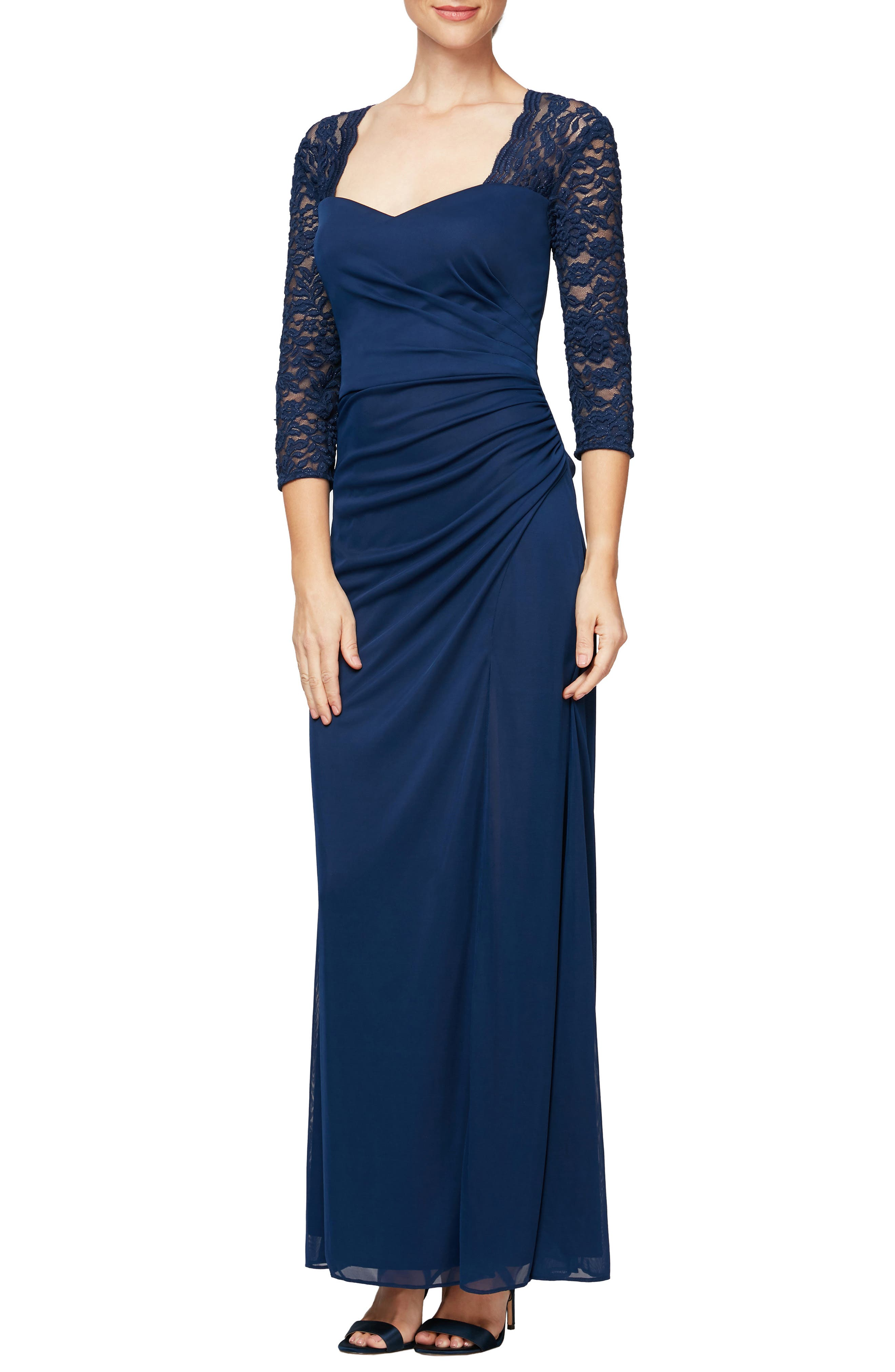 Rivet all eyes on you in this sweetheart-neckline gown that flatters your shape with a ruched chiffon overlay and finishes the sleeves and back in rosetta lace. Style Name: Alex Evenings Lace Yoke & Sleeves Ruched Gown (Regular & Petite). Style Number: 6020332. Available in stores.