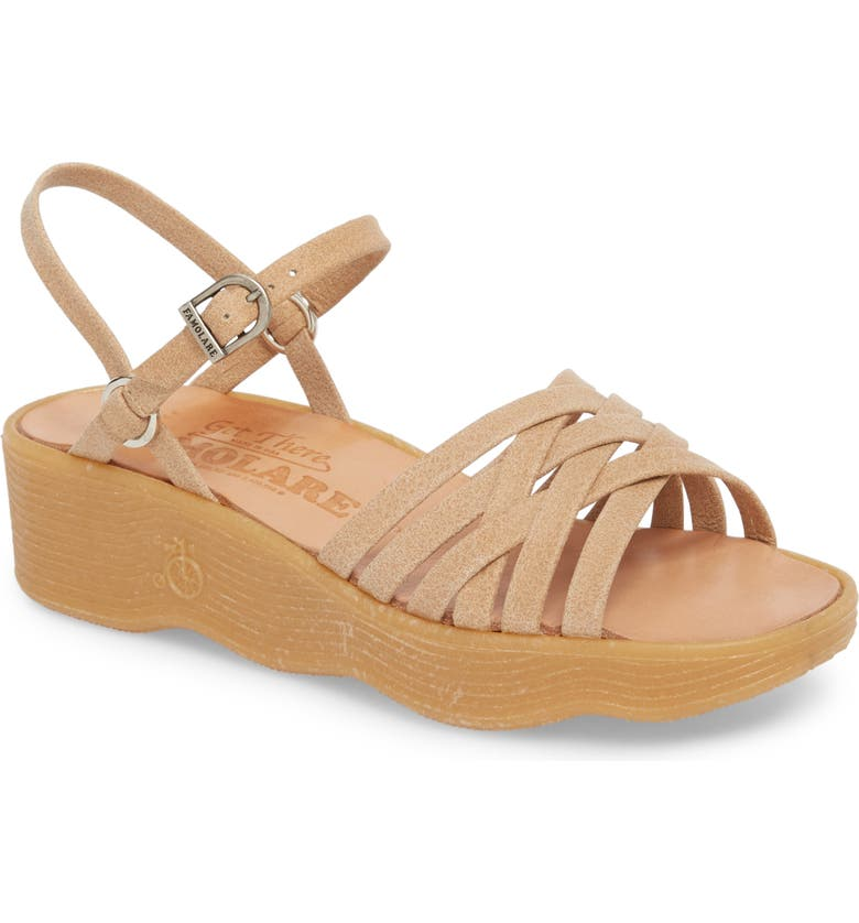 FAMOLARE Strappy Camper Sandal, Main, color, NUDE LEATHER