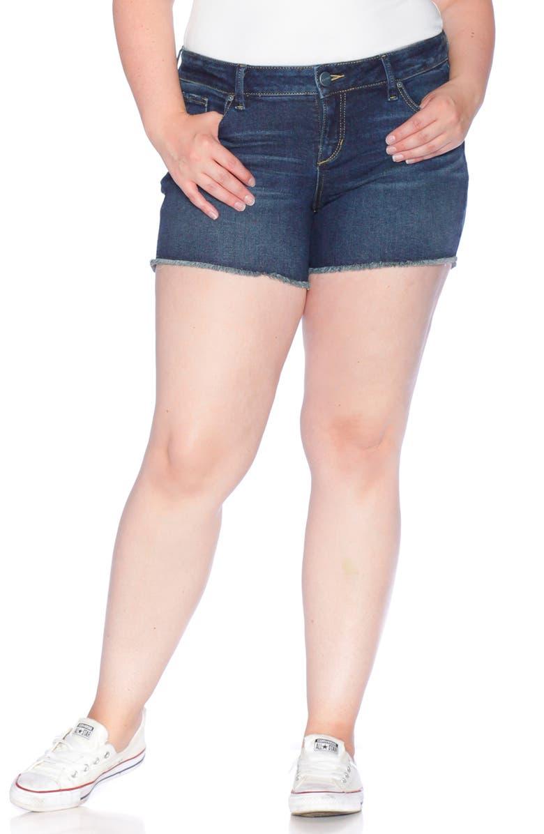 SLINK JEANS Frayed Denim Shorts, Main, color, 410