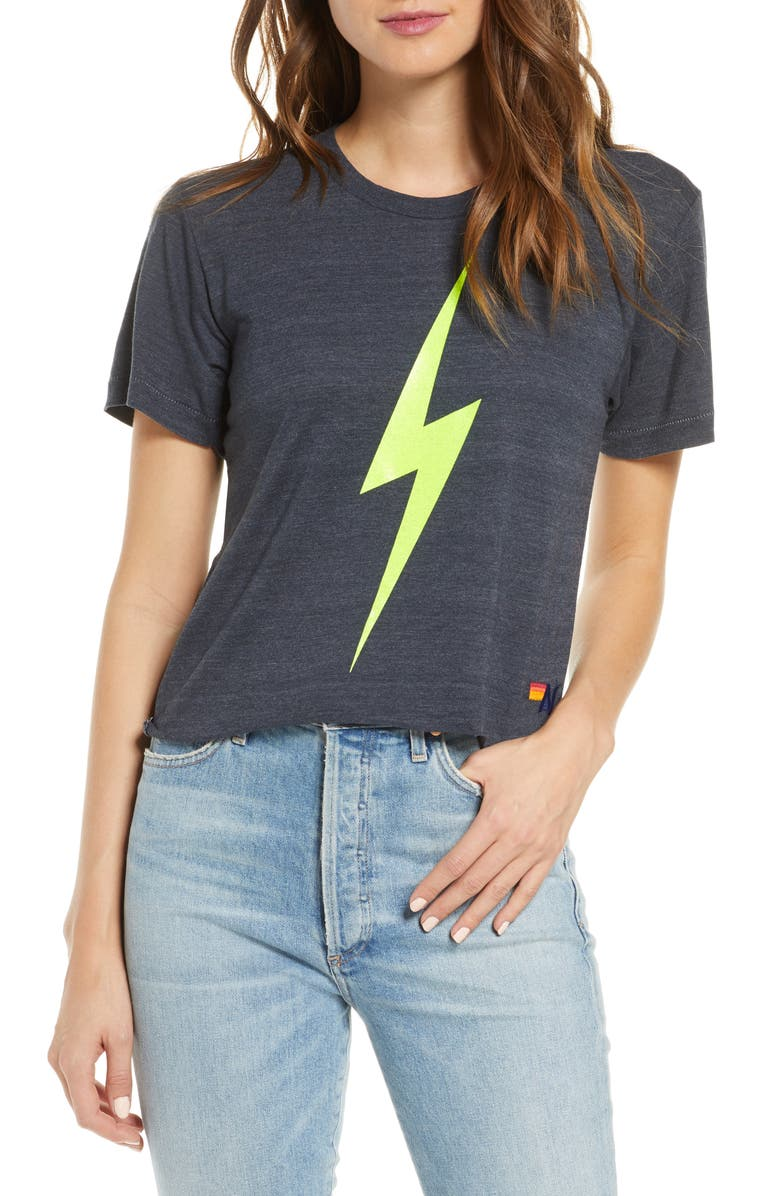 AVIATOR NATION Bolt Crop Tee, Main, color, CHARCOAL NEON YELLOW
