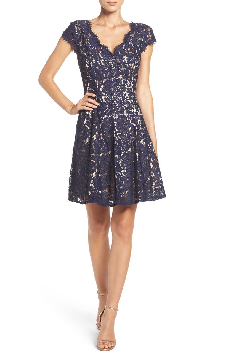ELIZA J Lace Fit & Flare Dress, Main, color, 410