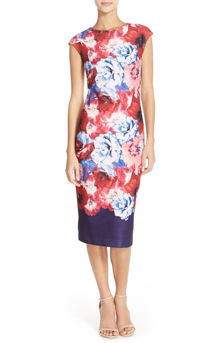 VINCE CAMUTO Floral Print Stretch Midi Dress, Main, color, 498