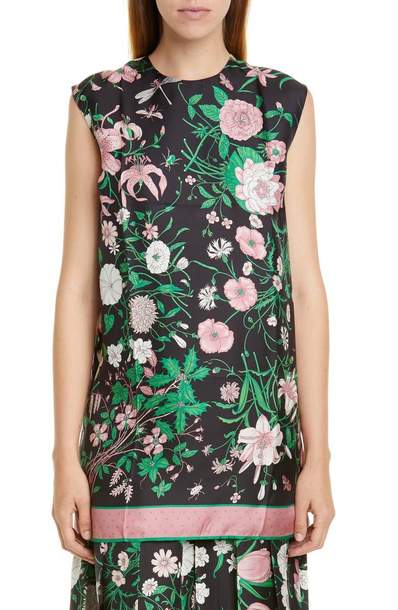 GUCCI Flora Print Silk Twill Tunic, Main, color, BLACK/ PINK PRINT