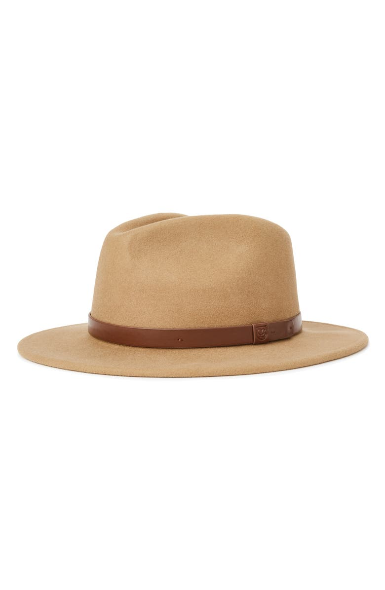 BRIXTON Messer II Felted Wool Fedora, Main, color, TOBACCO