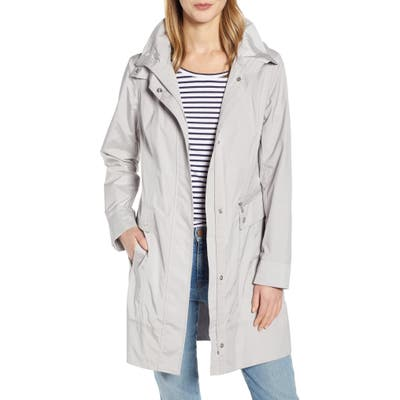 Cole Haan Signature Back Bow Packable Hooded Raincoat, Grey