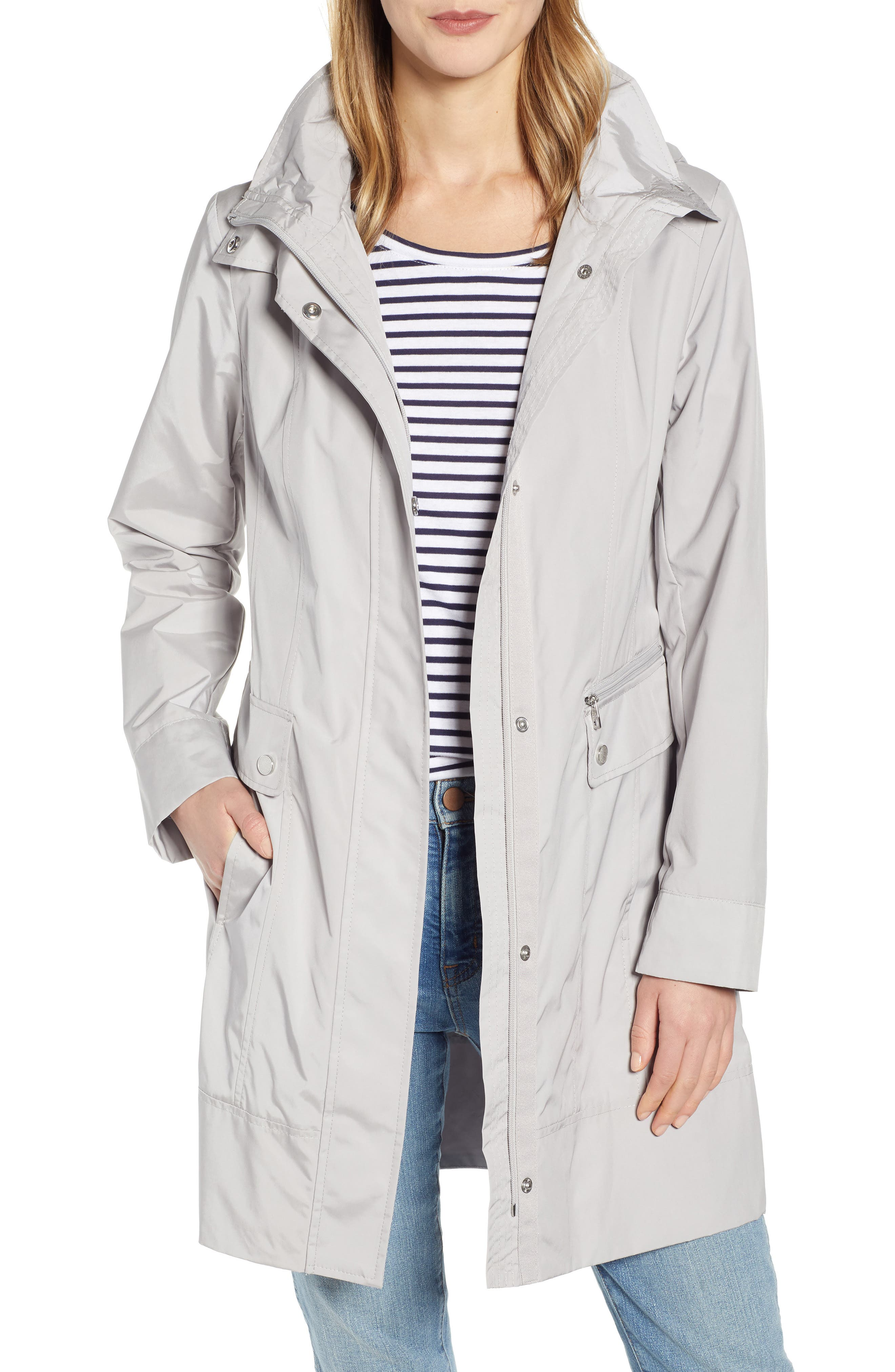Cole Haan Signature Womens Hooded Trenchcoat