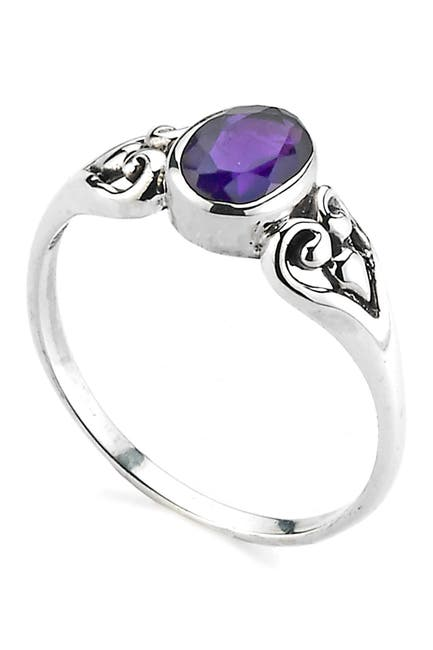 Image of Samuel B Jewelry Sterling Silver Oval Amethyst Ring