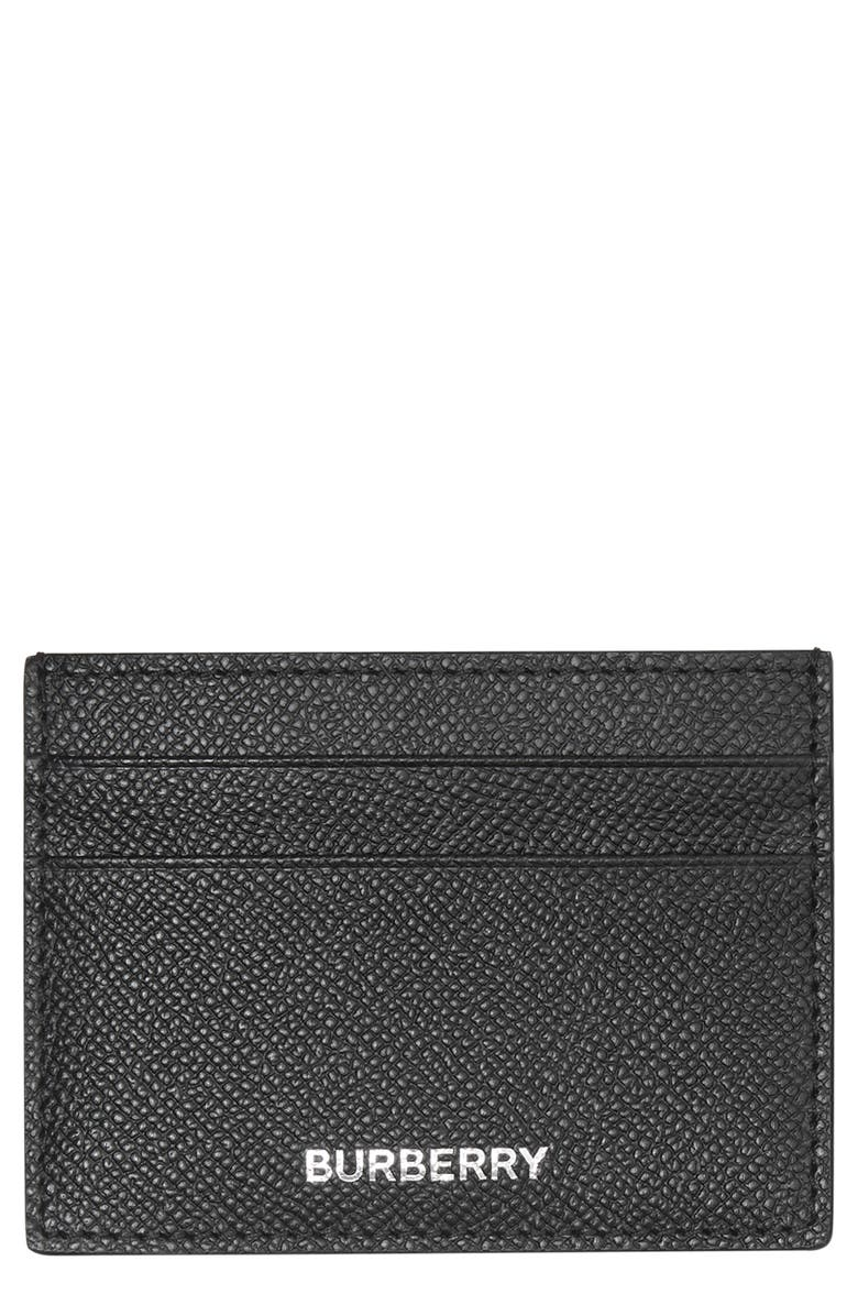 BURBERRY Grained Leather Card Case, Main, color, BLACK