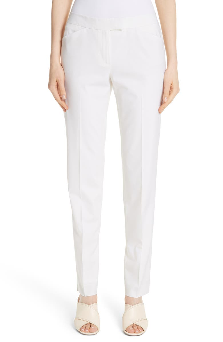 LAFAYETTE 148 NEW YORK Irving Stretch Wool Pants, Main, color, IVORY