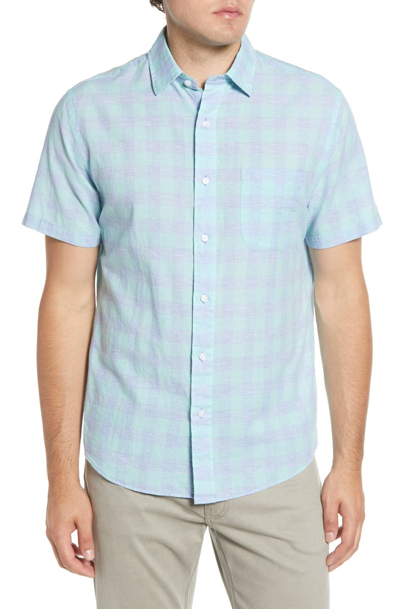FAHERTY Regular Fit Check Short Sleeve Stretch Cotton & Linen Button-Up Sport Shirt, Main, color, MINT BUFFALO