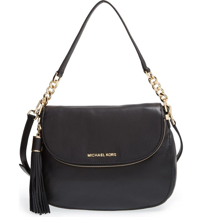 MICHAEL MICHAEL KORS 'Bedford Tassel - Medium' Convertible Leather Shoulder Bag, Main, color, 005