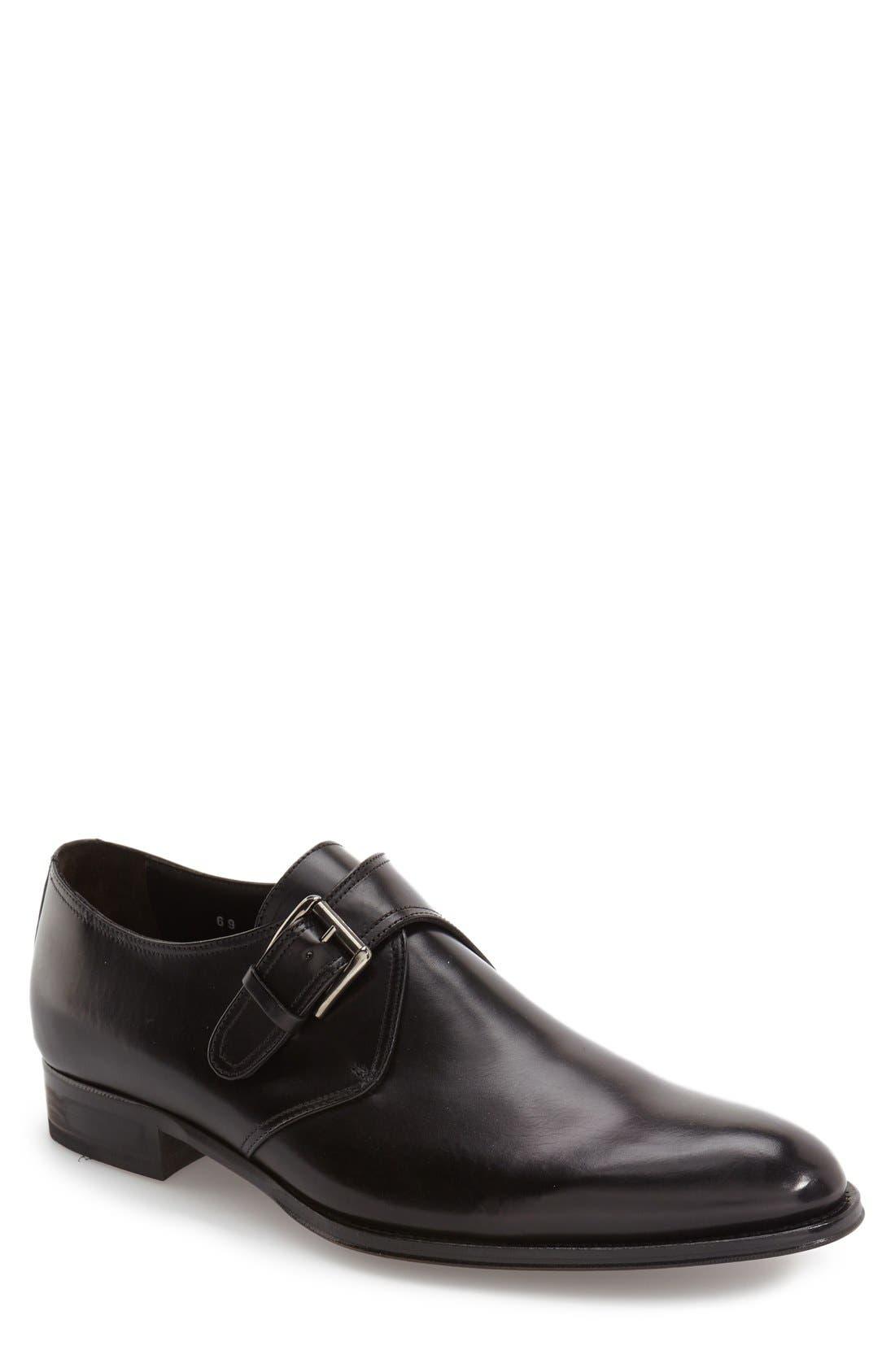 Emmett Monk Strap Shoe, Main, color, BLACK LEATHER