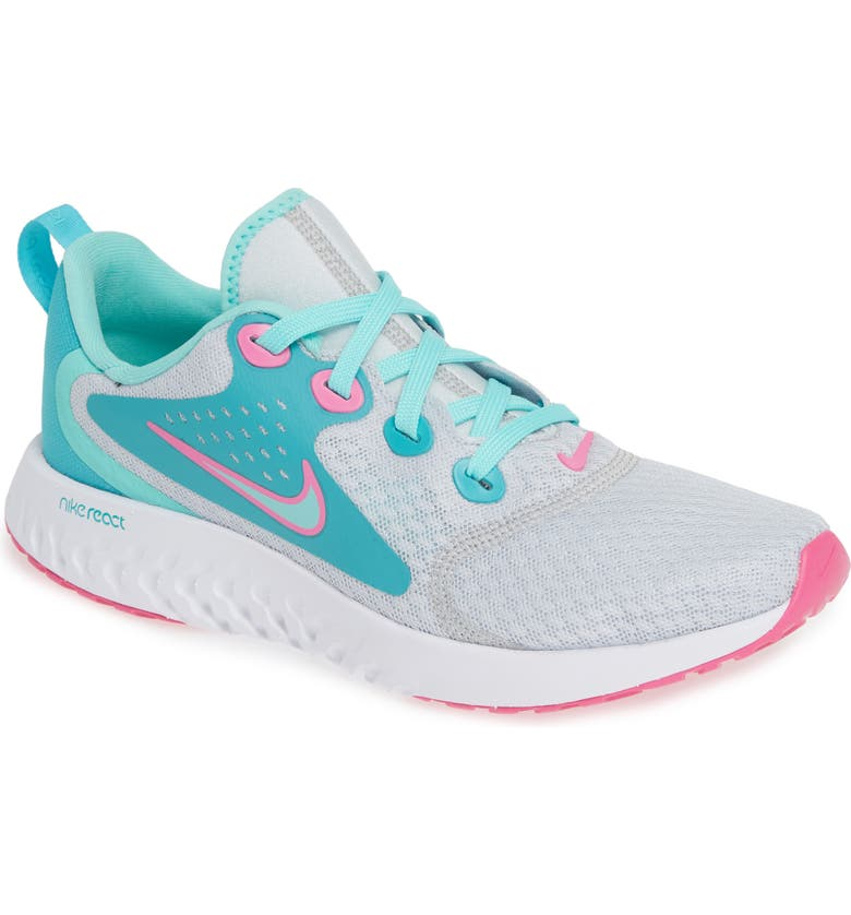 NIKE Legend React Aqua Running Shoe, Main, color, PLATINUM/ TROPICAL-CABANA