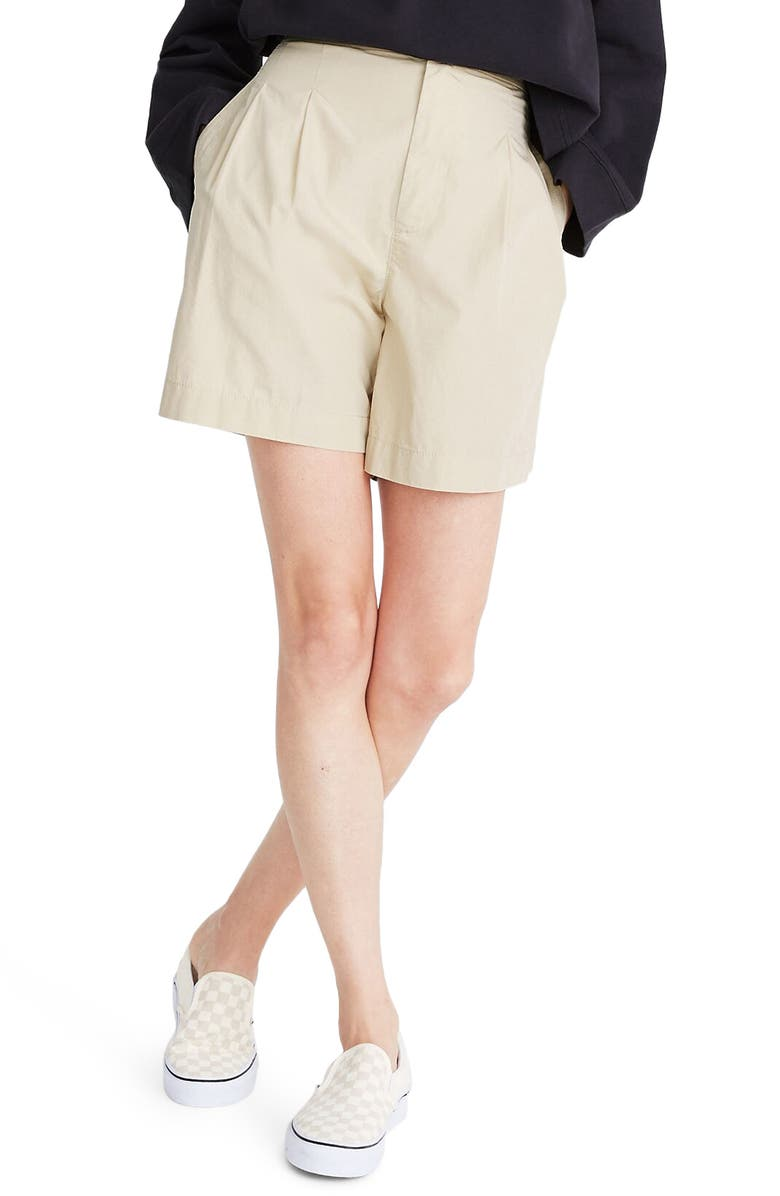 MADEWELL Poplin Pleated Shorts, Main, color, 207