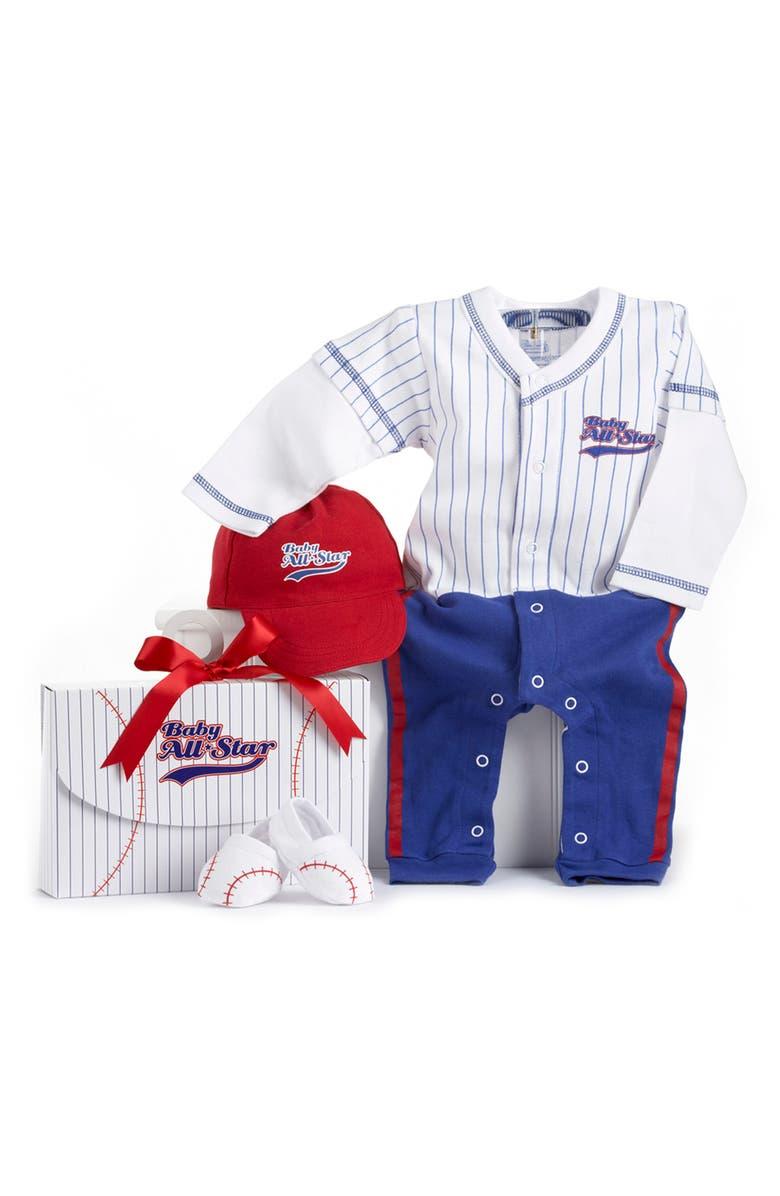 BABY ASPEN Big Dreamzzz Baseball 3-Piece Cotton Romper, Socks & Hat Gift Set, Main, color, BLUE