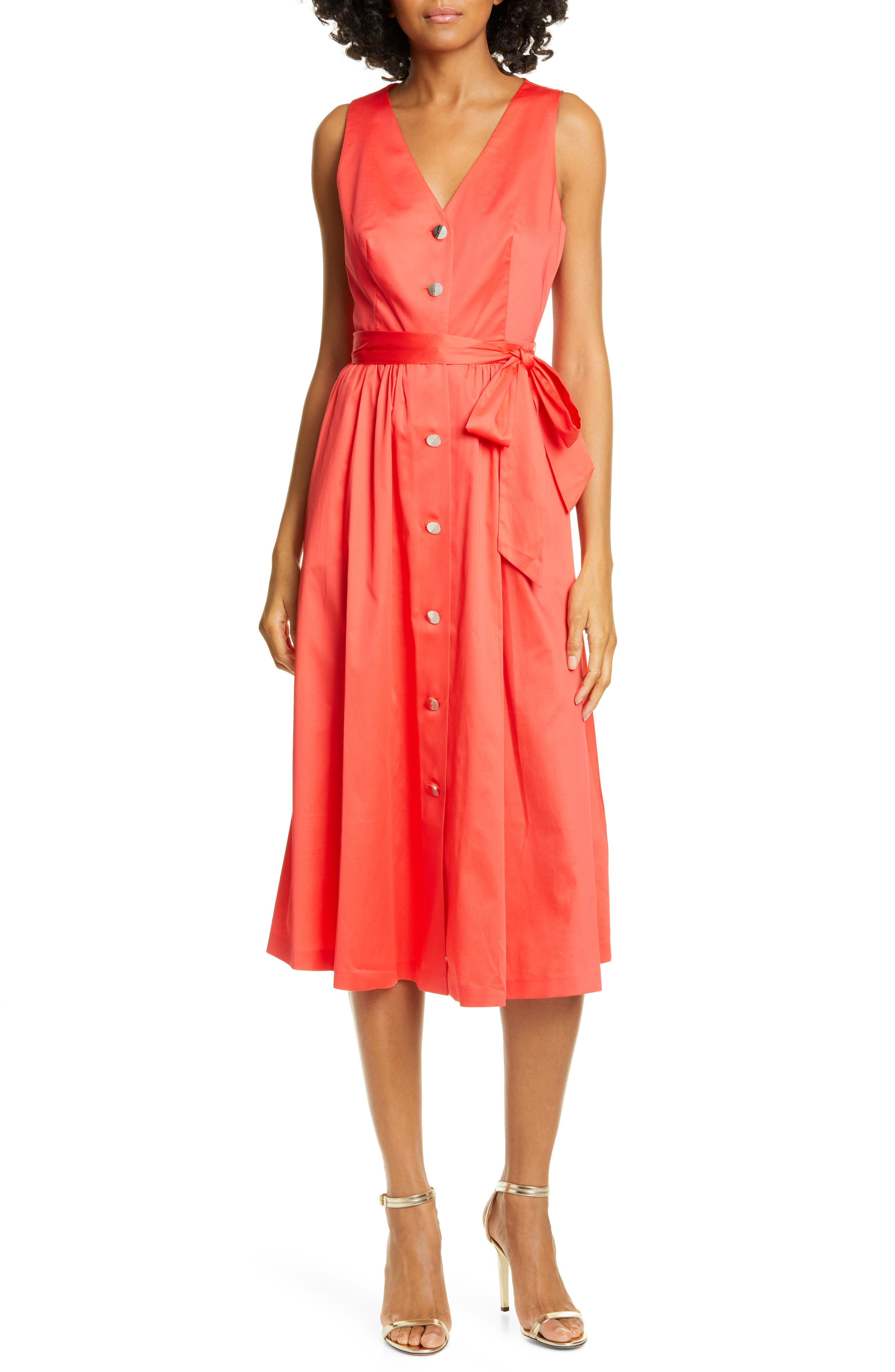 Ted Baker London Ryylie Button-Up Tie Front Cotton Midi Dress, Red