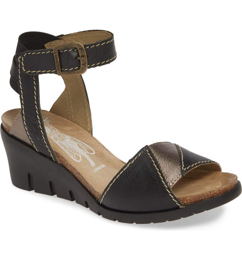 FLY LONDON Imat Wedge Sandal, Main, color, BLACK/ BRONZE LEATHER