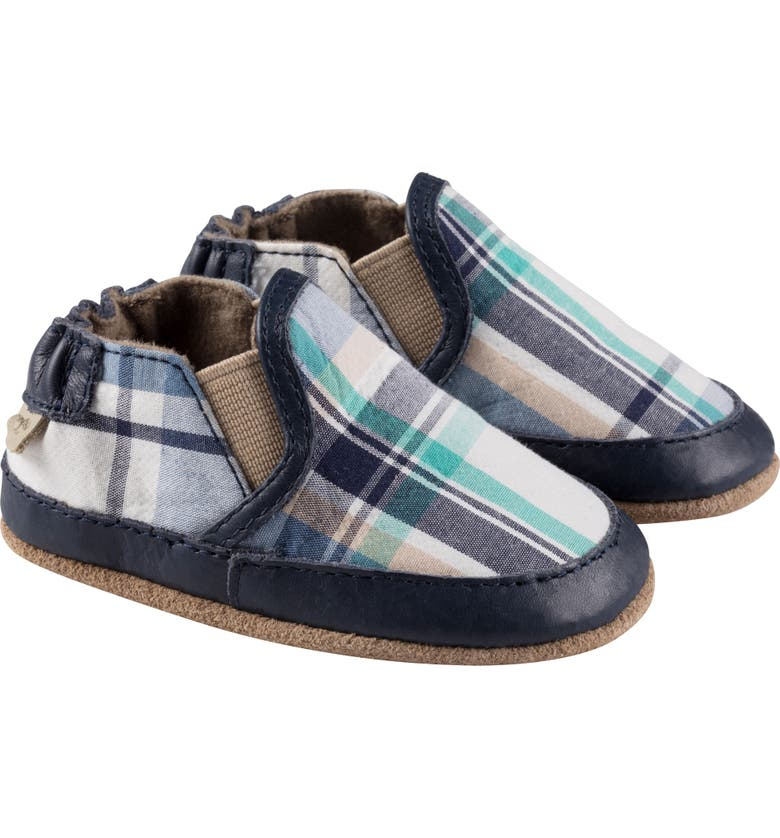 ROBEEZ<SUP>®</SUP> Liam Slip-On Crib Sneaker, Main, color, BLUE PLAID