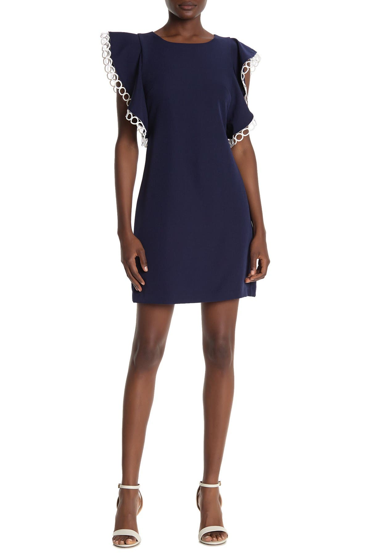 Image of Laundry By Shelli Segal Ruffle Lace Eyele Trim Dress