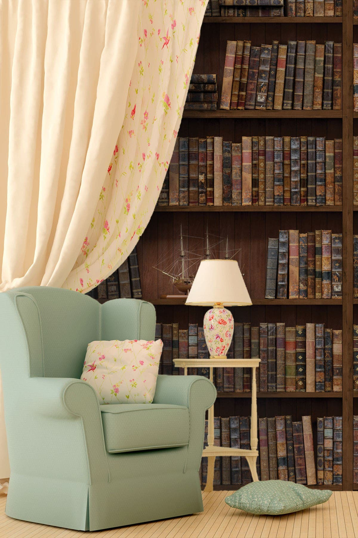 Image of WalPlus Brown Wall Sticker Vintage Bookshelf Wall Decal