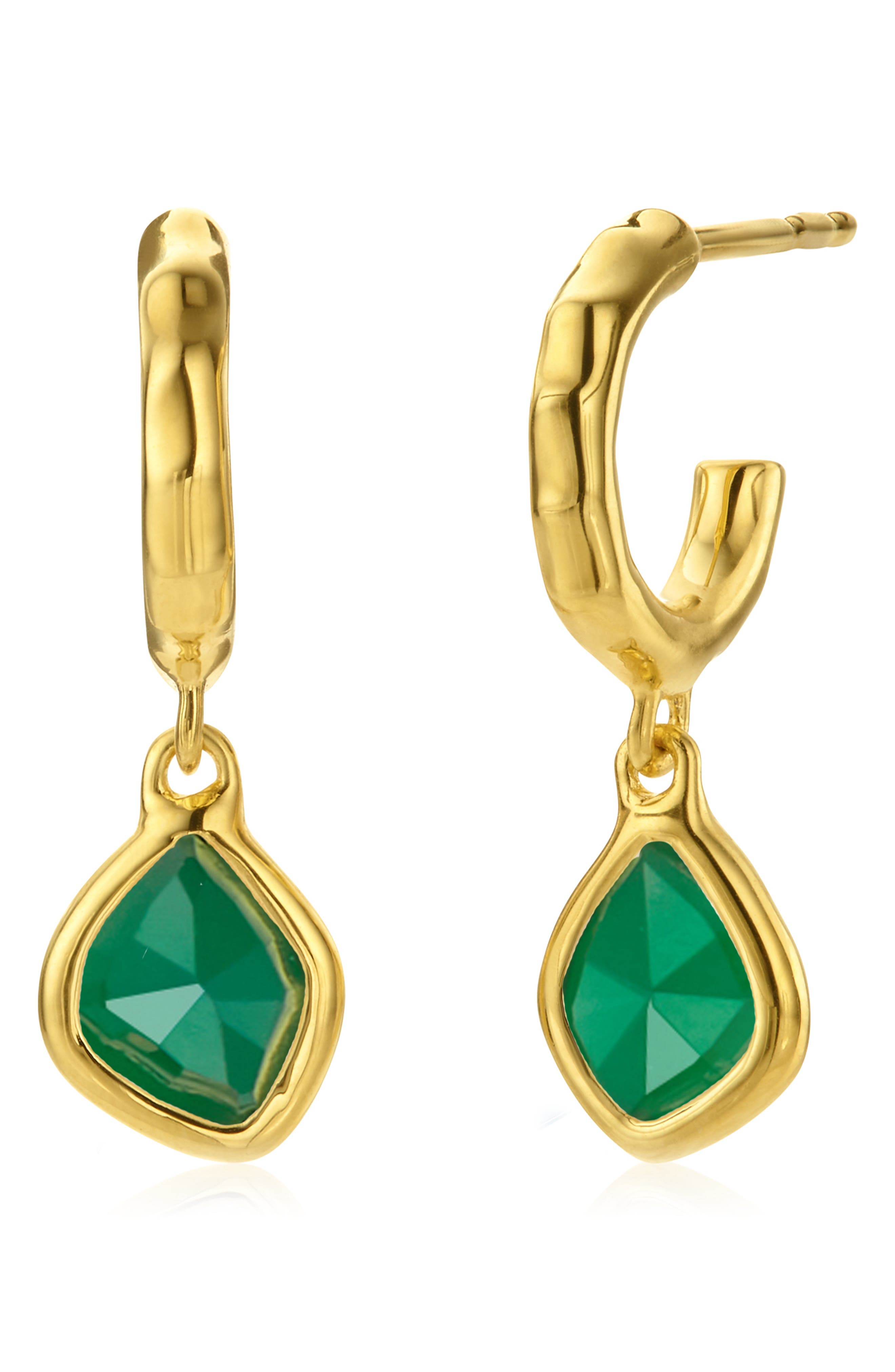 These organically shaped drop earrings flaunt the natural beauty of faceted semiprecious stones within glinting precious-metal settings. Style Name: Monica Vinader Siren Mini Nugget Drop Earrings. Style Number: 5820510. Available in stores.