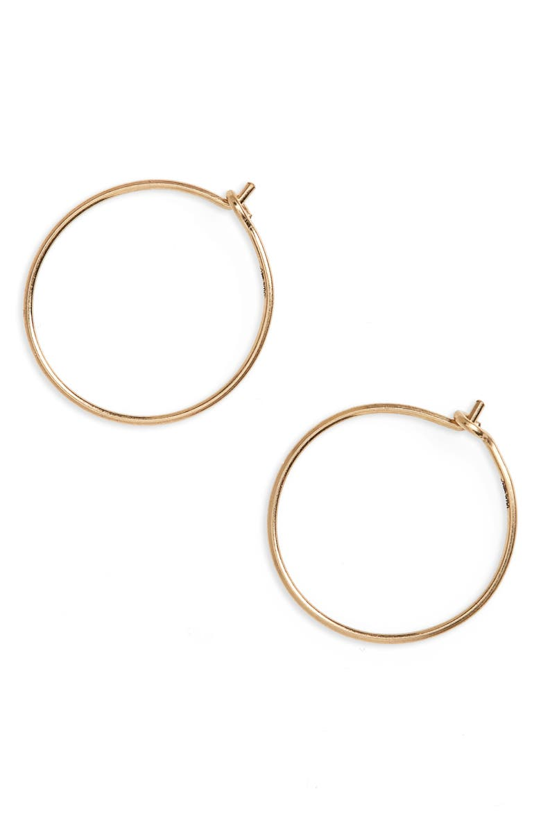 MADEWELL Delicate Wire Hoop Earrings, Main, color, GOLD
