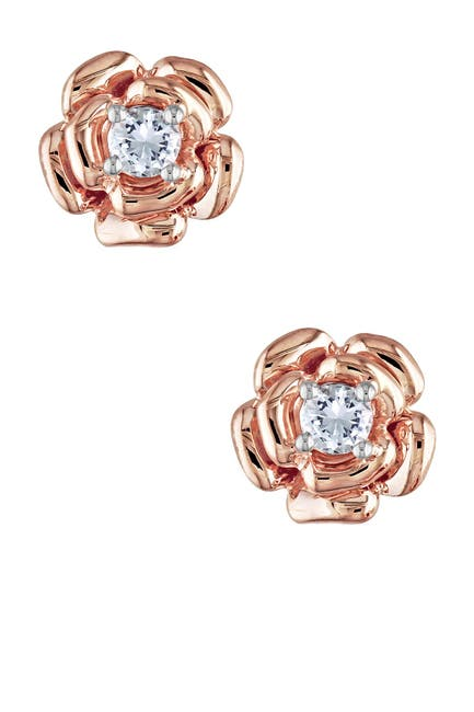 Image of Delmar Rose Gold Vermeil Created White Sapphire Center Rose Earrings