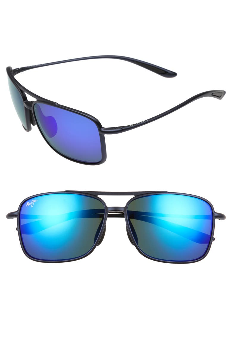 MAUI JIM Kaupo Gap 61mm PolarizedPlus2<sup>®</sup> Sunglasses, Main, color, MATTE BLUE/ BLUE HAWAII
